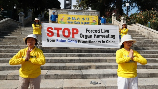 New Zealand Falun Gong practitioners protesting outside The Church Steps.(MARTIN DE RUYTER/stuff.co.nz)
