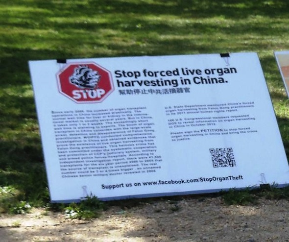 Sign placed in Washington, D.C. calling for action to stop forced live organ harvesting in China. (Leigh Goessl)