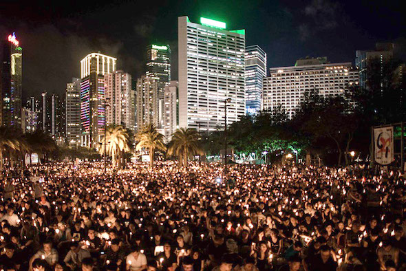 Hong Kong rally to commemorate the 1989 Tiananmen Square massacre