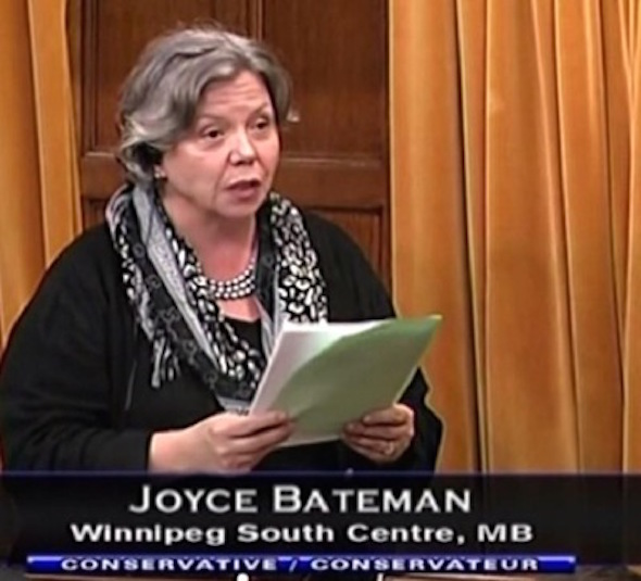 MP Joyce Bateman (CPC) at the House of Commons on October 8.