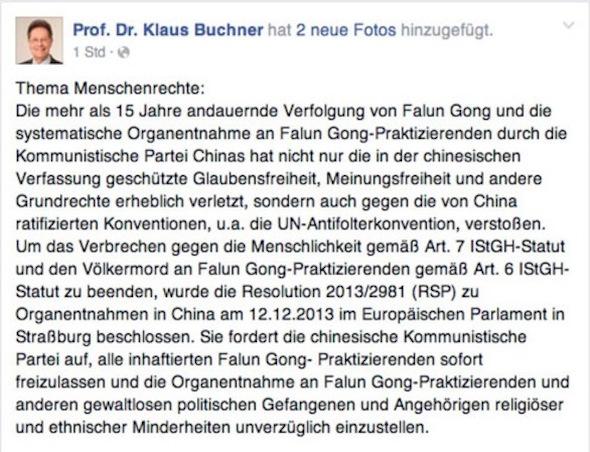 Screenshot of the Facebook post of Mr. Kalus Buchner, Member of European Parliament.