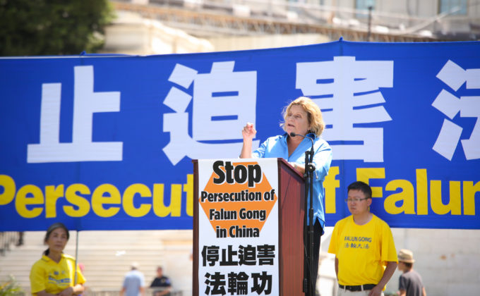 Rep. Ileana Ros-Lehtinen (R-FL) speaks at a rally at the Capitol in Washington, supporting Falun Gong and pushing for congress to take action to help end the Chinese regime 17 year persecution of the practice on July 14, 2016. (Benjamin Chasteen/Epoch Times)