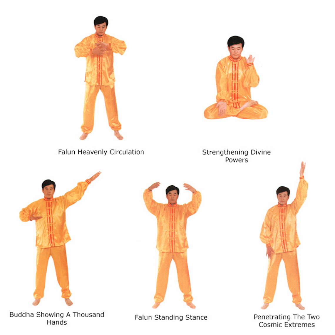 Mr. Li Hongzhi, founder of the spiritual practice of Falun Gong, demonstrates the five sets of exercises.