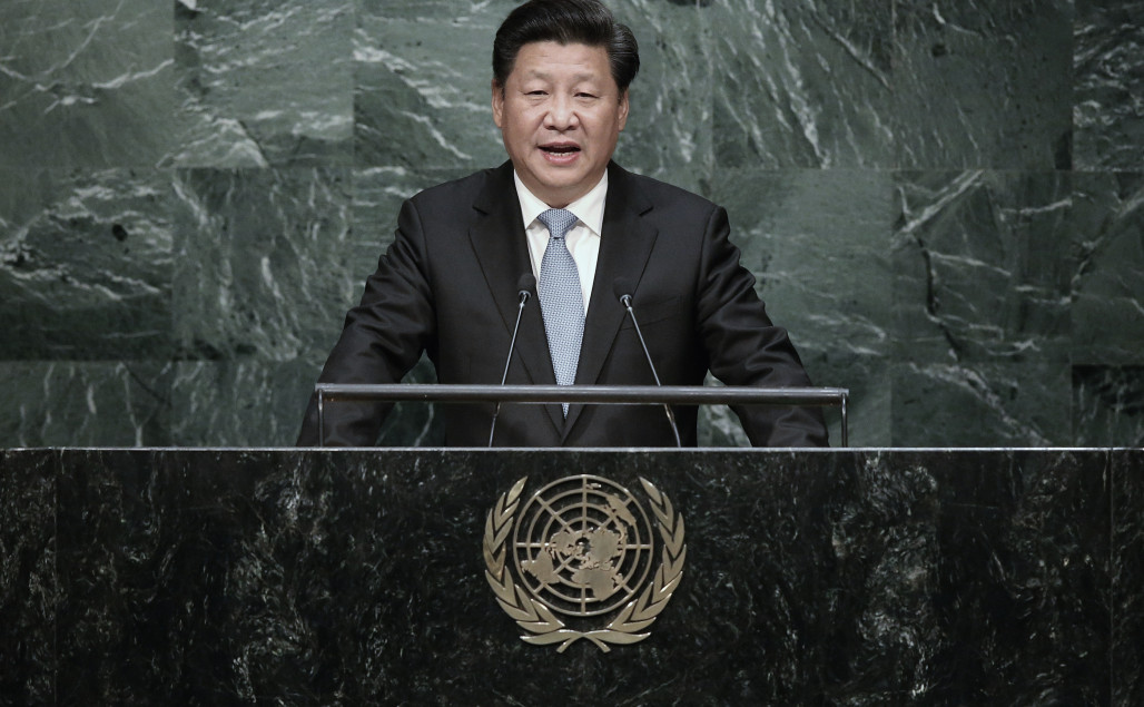 Chinese President Xi Jinping addresses the UN General Assembly on September 28, 2015 in New York City. World leaders gathered for the 70th session of the annual meeting.  (Photo by John Moore/Getty Images)