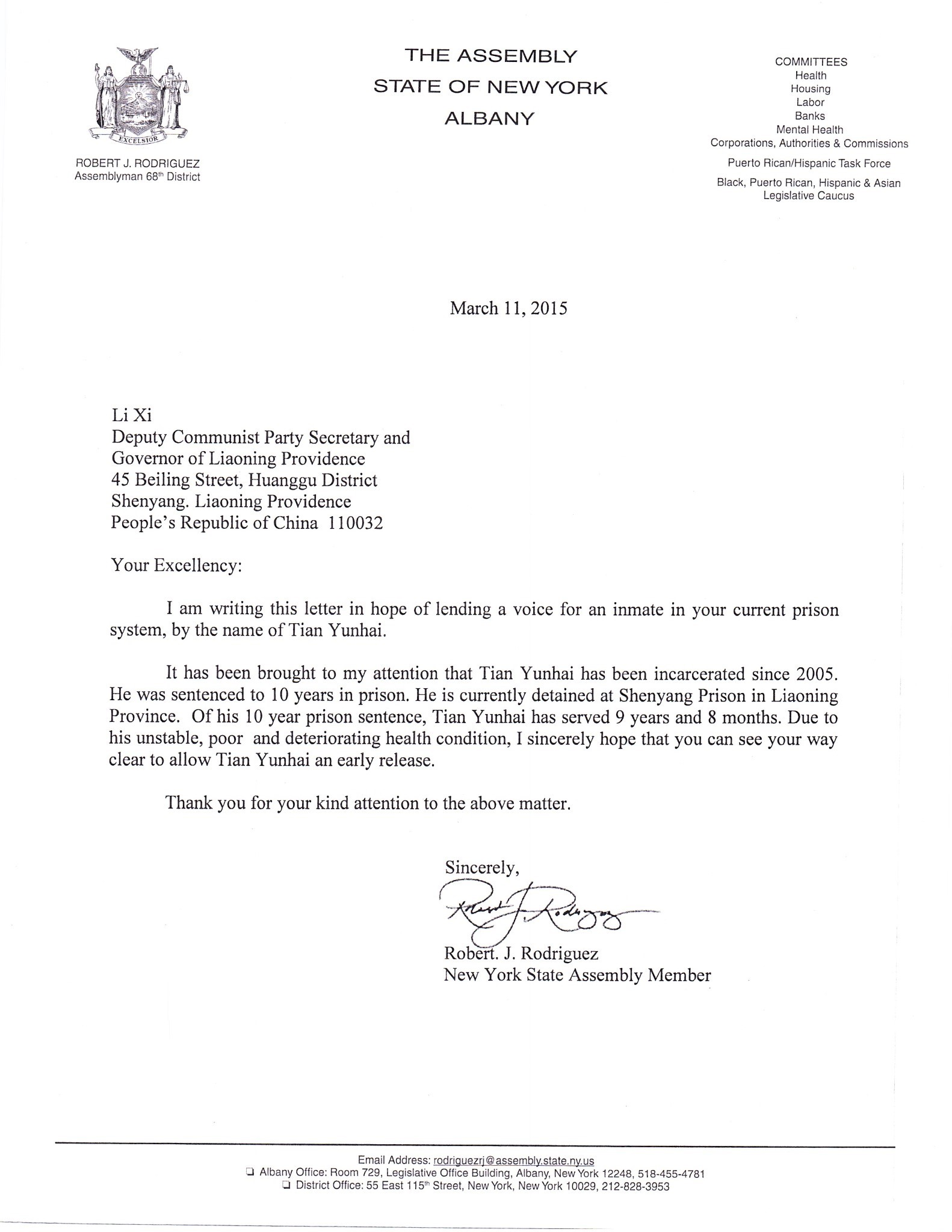 Letter From Assemblyman Robert J Rodriguez To Li Xi  Friends Of