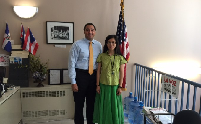 Pan Qi with New York State Assemblyman Robert J. Rodriguez