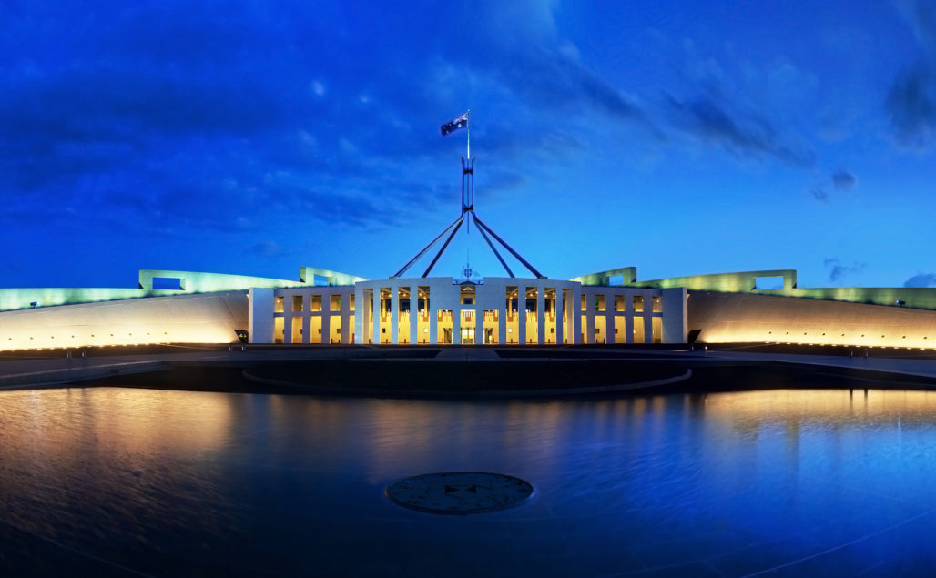 The Australian Parliament House at Canberra. (Wikipedia)