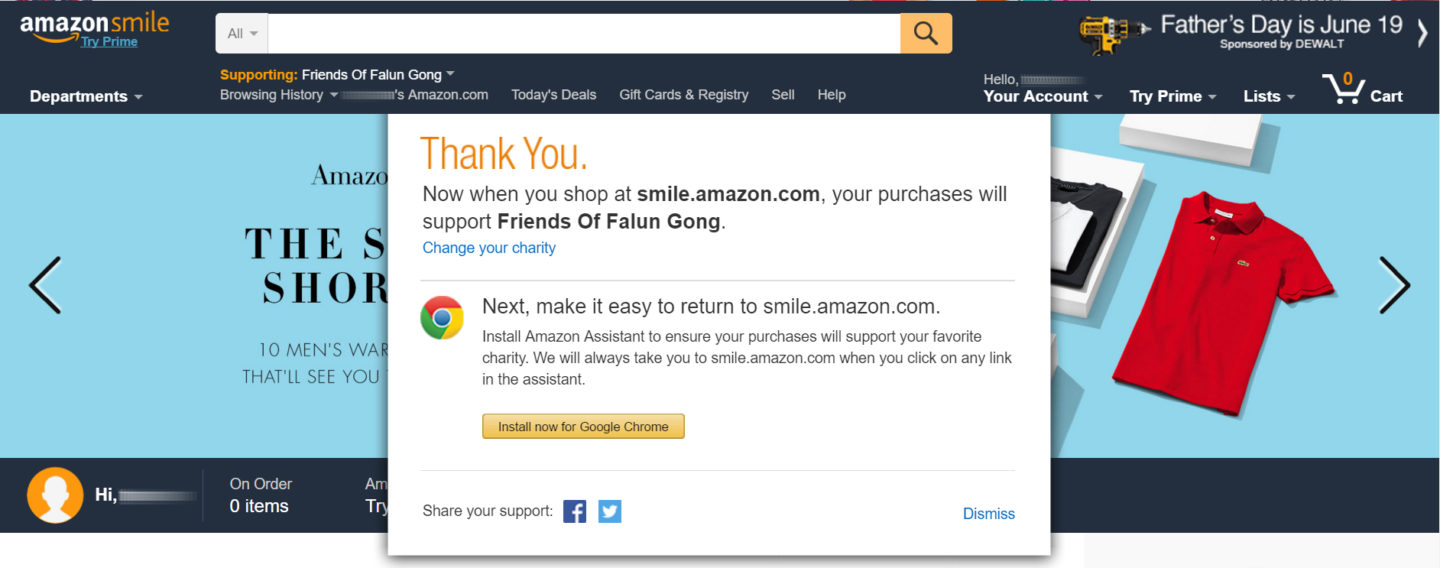Use Amazon Assistant or bookmark smile.Amazon.com